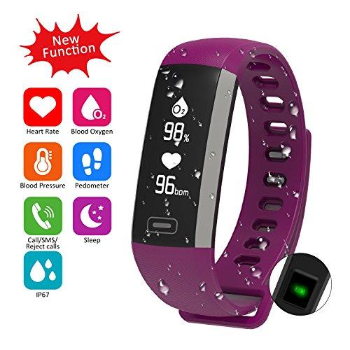 Waterproof Fitness Activity Tracker Heart Rate Monitor Sleep Blood Pressure...
