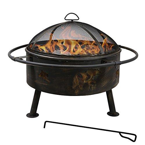 Clevr 24'' Wildlife Antique Bronze Metal Firepit, Outdoor Sky Animals Fireplace Backyard Patio Garden Bon Fire Heater Round Wood Burning Bowl Heater Outdoor