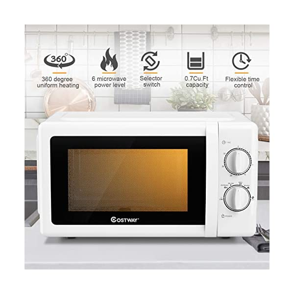 COSTWAY Retro Countertop Microwave Oven, 0.7 Cu. Ft, 700W Mechanical Compact Microwave Oven 6 Micro Power Settings… 2