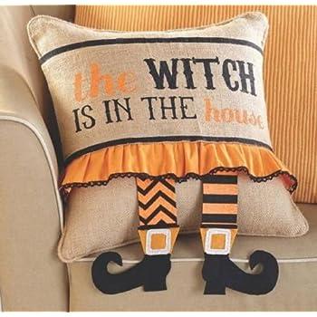 Mud Pie Burlap Throw Pillow and Halloween Witch Wrap Set