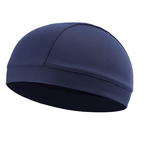 Tofern Summer Moisture Wicking Elastic Skull Cap Helmet Liner Bandana Beanie Hat for Outdoor Cycling Running Sport Motorcycle Polyester, Navy
