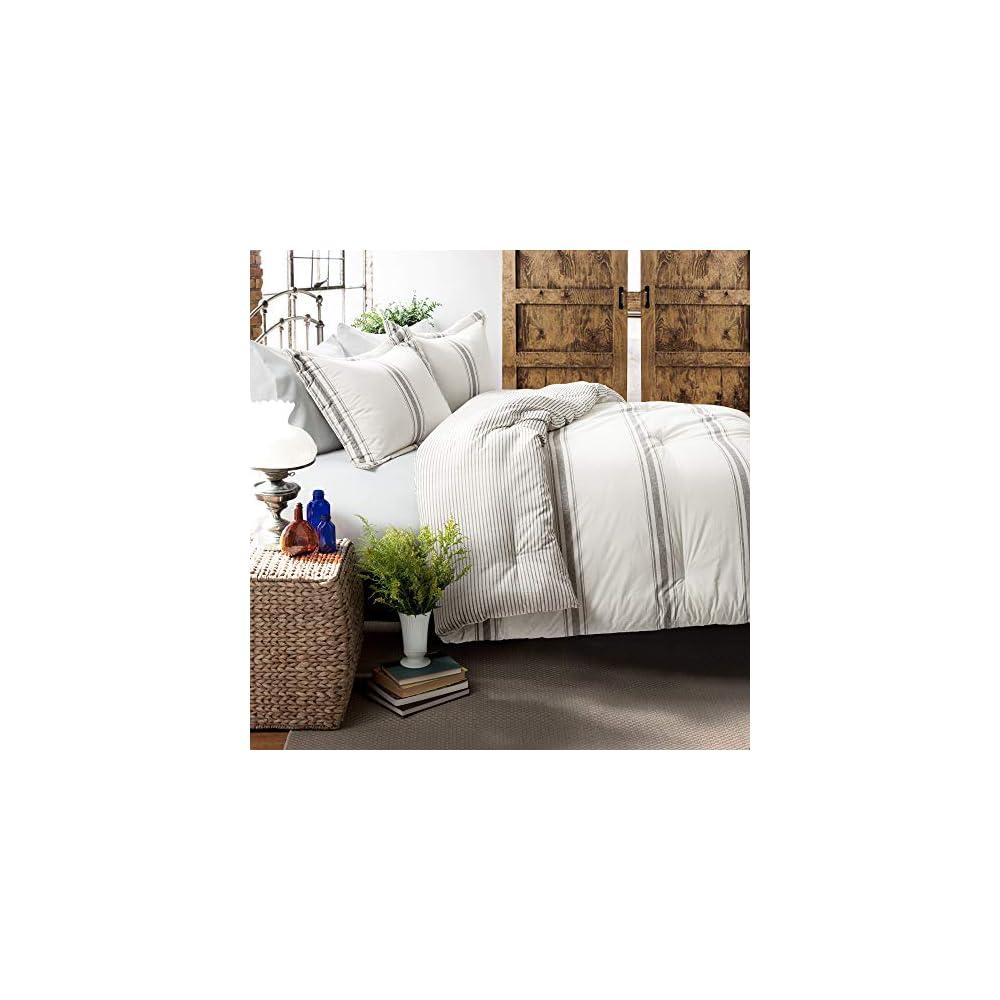Lush Decor, Gray Comforter Farmhouse Stripe 3 Piece Reversible Bedding Set, Full Queen