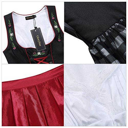 GloryStar Women's German Dirndl Dress 3 Pieces Oktoberfest Costumes (L, Mesh-Red-Two) by GloryStar (Image #6)