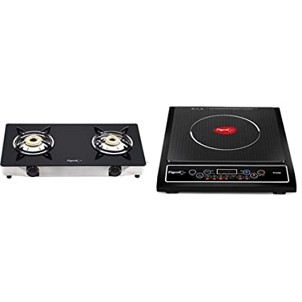 Pigeon By Stovekraft Favourite 2-Burner Glass Top Gas Stove, Black + Cruise 1800-Watt Induction Cooktop (Black)