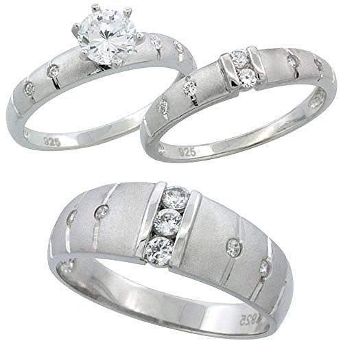 photo Wallpaper of Sabrina Silver-Sterling Silver Cubic Zirconia Trio Engagement Wedding Ring Set For-