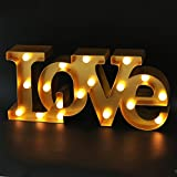 BRIGHT ZEAL 16' x 7' Large Love Sign Light Wall Art for Bedroom (Gold) - LED Marquee...