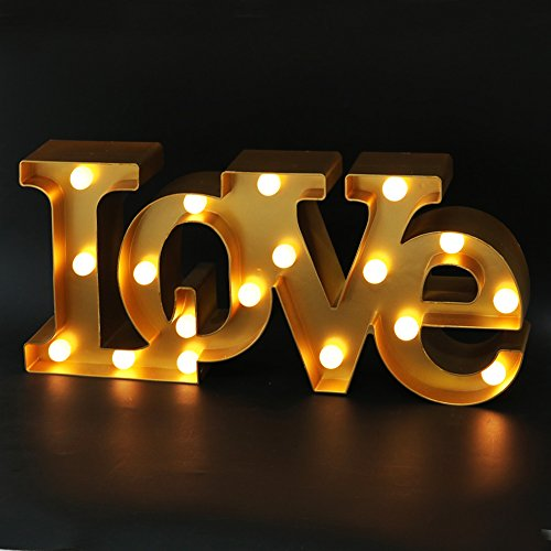"BRIGHT ZEAL 16"" x 7"" Large Love Sign Light Wall Art for Bedroom (Gold) - LED Marquee Letters Lights Love Tabletop Sign - Gold Love Sign Wedding Decorations for Reception Tables Centerpieces Gold"