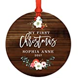 Andaz Press Personalized Baby's 1st Christmas Metal Ornament, My First Christmas, Sophia Anne 2019, Rustic Wood Florals, 1-Pack, Includes Ribbon and Gift Bag, Custom Name