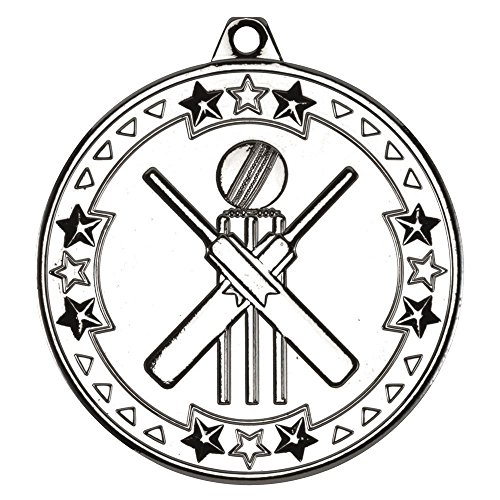 Lapal Dimension CRICKET 'TRI STAR' MEDAL - SILVER 2in PACK OF TEN by Lapal Dimension