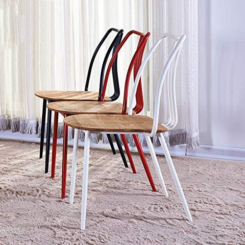 KTDT Modern minimalistisk fritidsstol massivt trä amerikansk retro smidesjärn matstol ryggstöd café bord och stolar röd