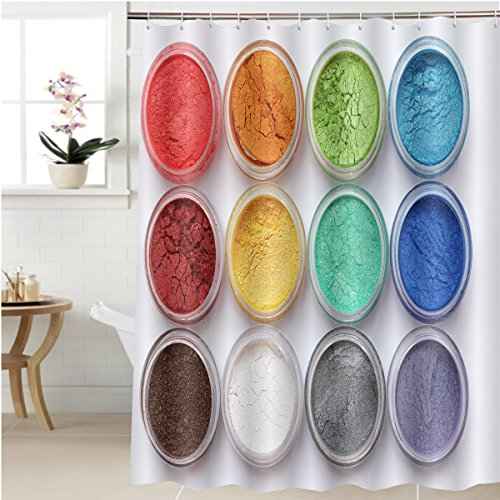 Gzhihine Shower curtain set of colorful mineral eyeshadows Bathroom Accessories 40 x 72 inches