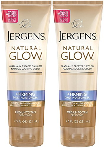 Jergens Natural Glow +Firming Daily Moisturizer, Medium to Tan Skin Tones, 7.5 Ounce (2 Pack) (Best Drugstore Cellulite Cream)