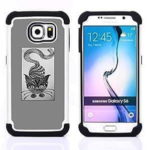 """Samsung Galaxy S6 / SM-G920 - 3 en 1 impreso colorido de Altas Prestaciones PC Funda chaqueta Negro cubierta gel silicona suave (Gato Gris abstracto Arte del lápiz de dibujo"""")"""