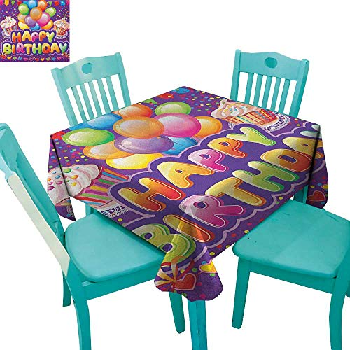 Birthday Printed Tablecloth Purple Colored Backdrop with Creamy Cupcakes Hearts Confetti Rain and Balloons 70
