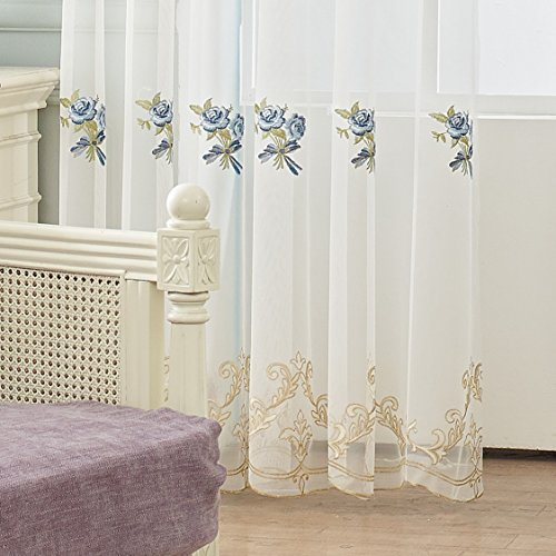 TIYANA White Embroidered Sheer Curtain 96 inch Long for Backdrop Classical European Blue Flower Embroidery Obscure Custom Tulle Gauze Voile Long Curtain Drape Panel Rod Process 1 Piece 75x96 inch