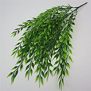 3 Bouquets Realistic Artificial Plants Fake Weeping Willow Artificial Plastic Shrubs for Outdoors Home Table Kitchen Office Wedding Garden Grave Decorations 4