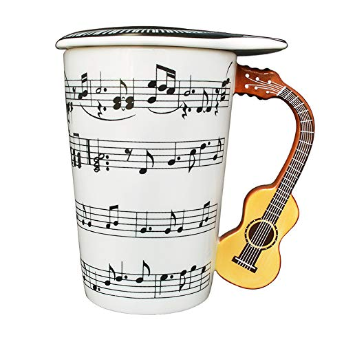 Giftgarden 13.5 oz White Coffee Mug with Lid Ceramic Cup 3D Guitar Music Notes Style for Water Milk Tea Drink 400ML Mugs