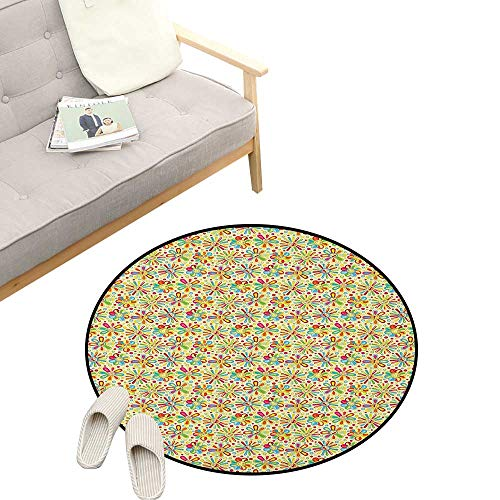 - Floral Round Area Rug Non-Slip ,Cartoon Style Colorful Dots and Petal Funny Characters with Glasses Abstract Pattern, Living Room Bedroom Coffee Table 39