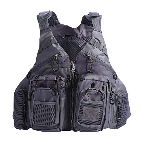Infant Vest Neo (Pangding Adults Life Jacket Vest Lifesaving Waistcoat with Multi-Pockets & Reflective Bands for Fishing Outdoor Activities, Adjustable Size(Dark Grey))