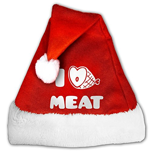 Holiday Costumes House Columbus (Colla CollaI Love Meat Santa Hat Perfect Accessory For Santa Claus Costume - Celebrate Xmas With Family & Friends Small)