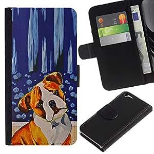KLONGSHOP // Tirón de la caja Cartera de cuero con ranuras para tarjetas - Perro Terrier Red Fawn boxeador estadounidense Bull - Apple Iphone 6 //