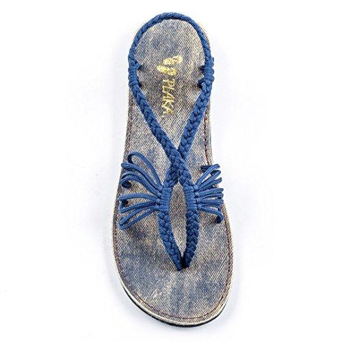 Plaka Flat Summer Sandals for Women Sapphire Blue 6 Seashell