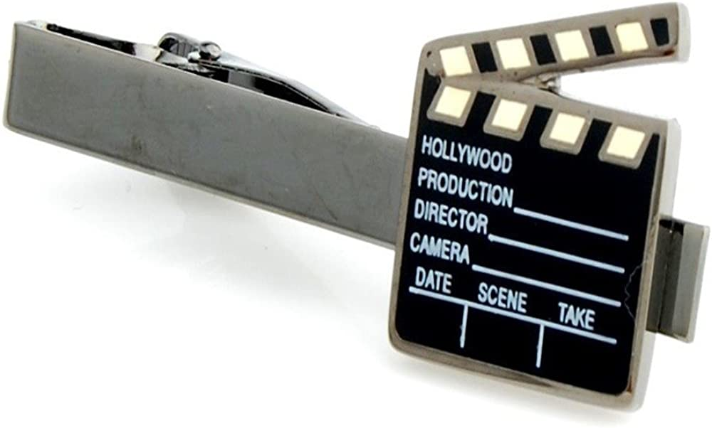 Clapperboard Film Director Movie Producer Tie Clip Black Wedding Clasp