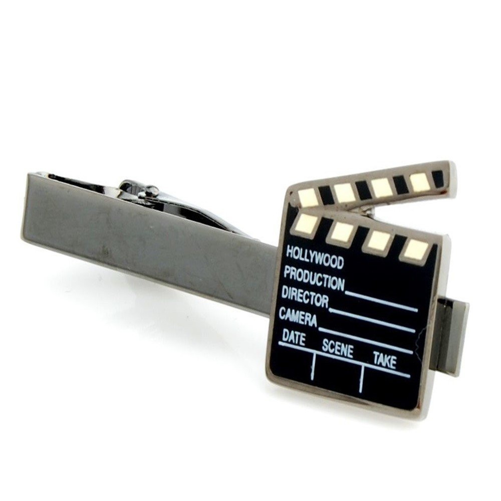 Clapperboard Film Director Movie Producer Tie Clip Silver Black Wedding Clasp ProCuffs T105