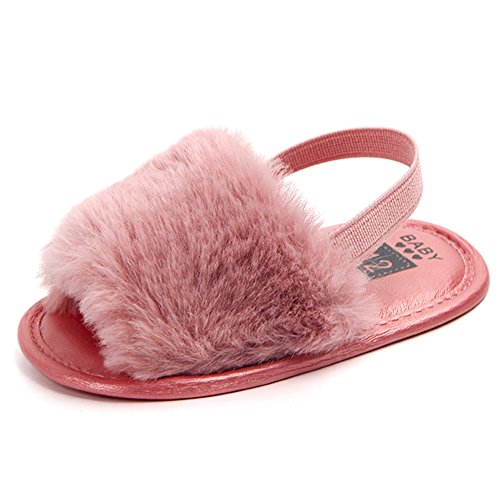 HONGTEYA Baby Girls Sandals Soft Soled Faux Fur Infant Toddler Summer Baby Moccasins Shoes Slippers (0-6 Months/4.33'', hotpink)