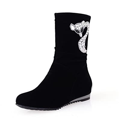 Womens Closed Round Toe Low Heels PU Solid Boots with Heighten Inside and Glass Diamond