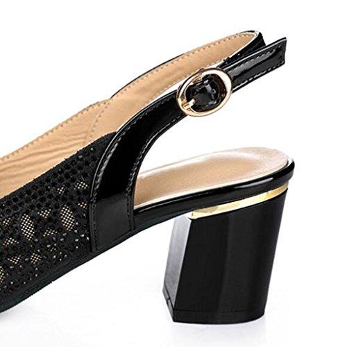 MUMA Zapatos de tacón Después de la boca de pescado vacía Cool Shoes Net Yarn Shoes Mujer Verano grueso con hueco de tacón alto Transpirable boca baja Verano salvaje negro Champagne High Heels ( Color Negro