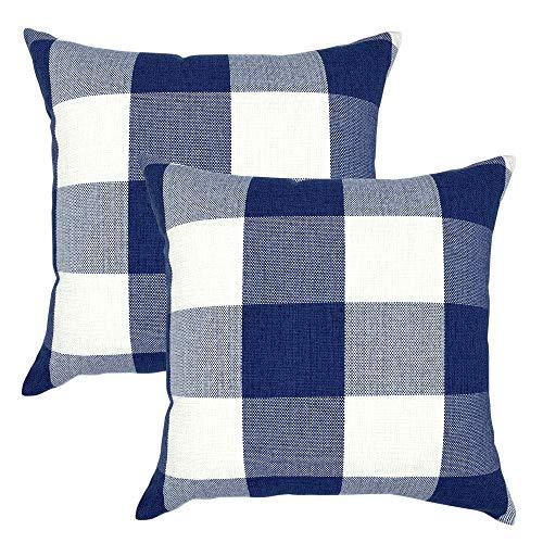 YOUR SMILE Retro Farmhouse Buffalo Tartan Checkers Plaid Cotton Linen Decorative Throw Pillow Case Cushion Cover Pillowcase for Sofa 20 x 20 Inch, Set of 2, Navy/White (Navy And Sham White Euro)