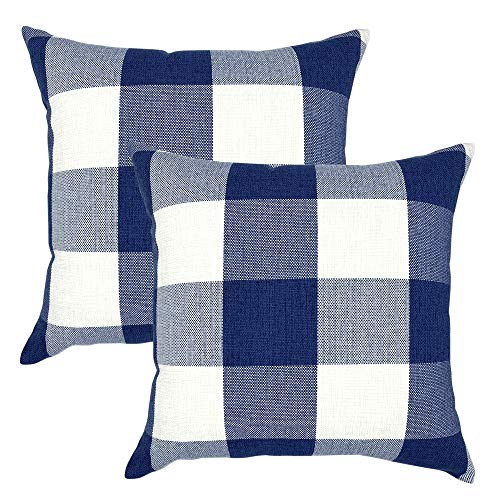 Plaid Pillow Pack - YOUR SMILE Retro Farmhouse Buffalo Tartan Checkers Plaid Cotton Linen Decorative Throw Pillow Case Cushion Cover Pillowcase for Sofa 20 x 20 Inch, Set of 2, Navy/White