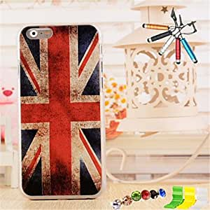 ZL 3D Relief British Flag Pattern PC Material with Stylus Anti-Dust Plug and Stand portfolio for iPhone 6