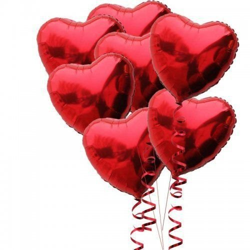 AnnoDeel 20 pcs 18inch Red Heart Balloons, Heart shaped Balloons foil Love Balloons for Wedding Decoration Party Balloons Birthday ()