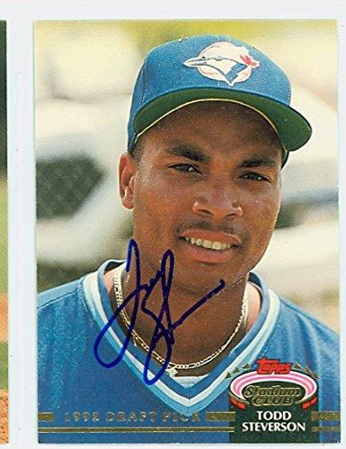 Todd Steverson AUTOGRAPH 1992 Topps Stadium Club Toronto Blue Jays ()