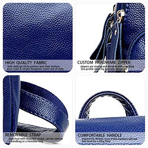 Cuir bandoulière Femme Sacs main dos Sacs portés Bleu portés Sacs Faux DEERWORD Noir 8v6wqpUWw