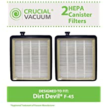 2 Dirt Devil F45 HEPA Canister Filters, Fit Dirt Devil Vacuum Cleaner F45, Pets Canister Vacuum SD40000, & EZ Lite Canister SD40010, Compare to Dirt Devil Vacuum Part # 2KQ0107000, Designed & Engineered By Crucial Vacuum