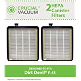 2 Dirt Devil Style F45 HEPA Canister Filters for Pets & EZ Lite Canister Vacuums;Compare to Dirt Devil Vacuum Part No. 2KQ0107000; Designed & Engineered By Think Crucial