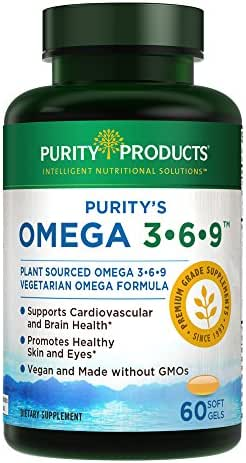 "Omega 3-6-9 Vegan and Vegetarian Omega Formula - ""5 in 1"" Essential Fatty Acid Complex - Scientifically Formulated Plant-Based Omega 3 6 9 Essential Fatty Acids (EFA) - from Purity Products (60)"