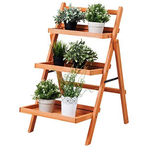 Giantex 3-Tier Plant Stand Flower Rack Bonsai Pot Shelf Wood Potted Plant Organizer Pot Holder Outdoor Indoor Multifunction Foldable Plant Racks Display Shelf