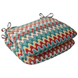 Pillow Perfect Indoor/Outdoor Nivala Rounded Seat Cushion, Blue, Set of 2
