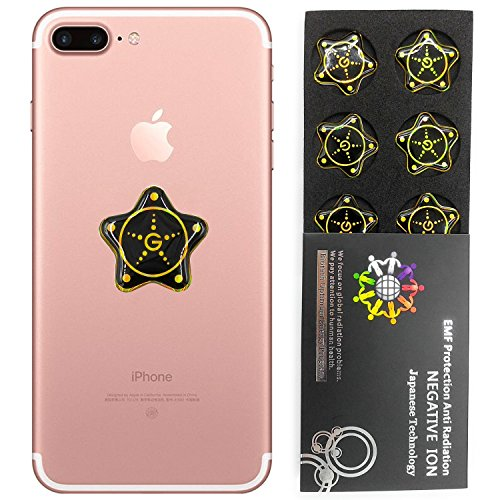 EMF Protection Tesla Technology,EMF sticker for CELL PHONE, WiFi, Laptop (Gold STAR 6PCS)