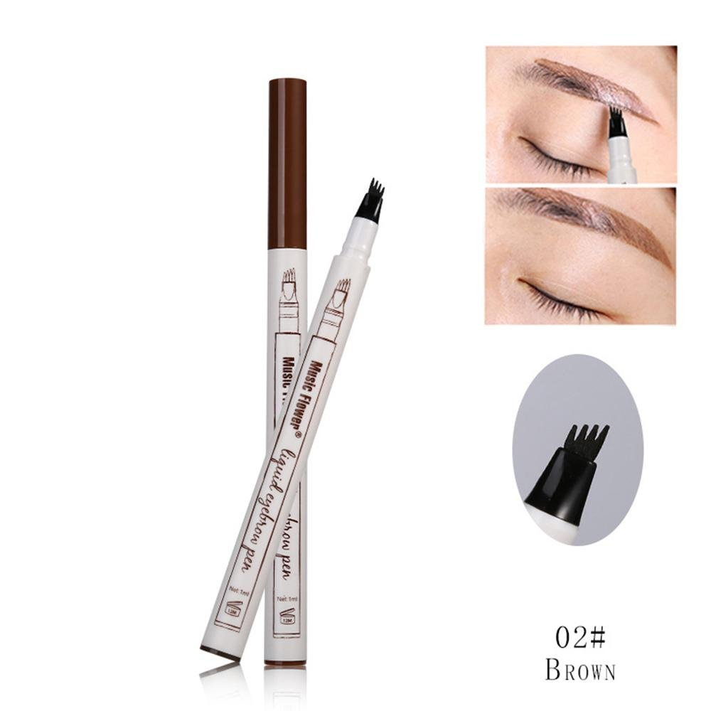 Liquid Eyebrow Pen, Leegoal Waterproof Smudge-proof Long Lasting Eyebrow Pen, 4 Head Fine Sketch Fork Tip Liquid Eyebrow Enhancer Dye Tint Pen, 3 Color for Choice(Chestnut)