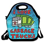 I Love Garbage Trucks Insulated Lunch Bag With Zipper,Carry Handle And Shoulder Strap For Adults Or Kids Black