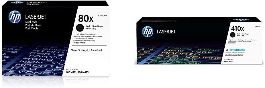 HP 80X | CF280XD | 2 Toner Cartridges | Black | High Yield & 410X | CF410X | Toner Cartridge | Black | High Yield