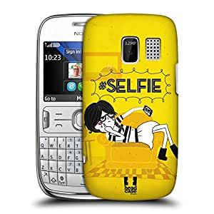 Head Case Designs Selfie Hashtag Doodles Hard Back Case Cover for Nokia Asha 302