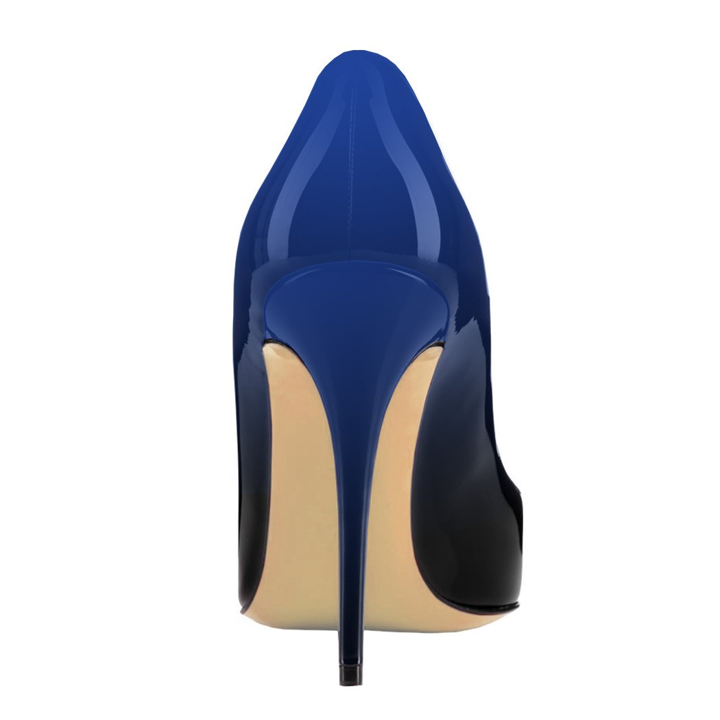 VOCOSI Pointy Toe Pumps for Women,Patent Gradient Animal Print High Heels Usual Dress Shoes B077NY5CS3 9 B(M) US|Gradient Blue to Black With 10cm Heel Height