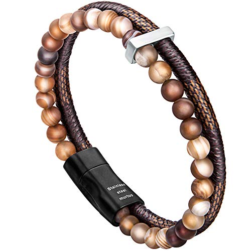 murtoo Mens Bead Leather Bracelet, Blue and Brown Bead and Leather Bracelet for Men (Brown)