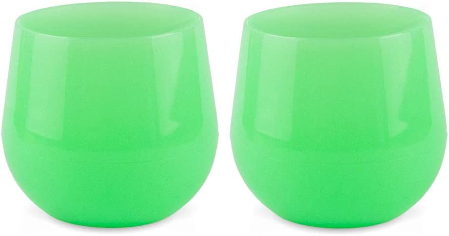 Silipint Unbreakable Silicone Wine Glasses, BPA-Free, Pool Side Safe, Red and White Wine Drinkware (Set of 2 - Glow 14oz Cups)